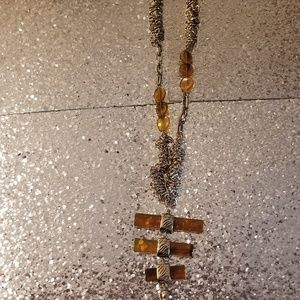 Amber and Silver Mesh Necklace